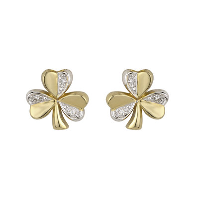 14K two tone gold diamond shamrock stud earrings s3124 from Solvar