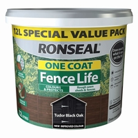Ronseal 12L Fencelife One Coat Tudor Black Oak