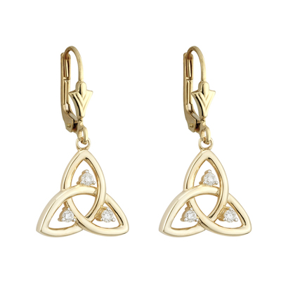 9K CZ TRINITY DROP EARRINGS(BOXED)