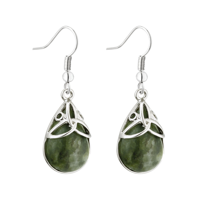 RHODIUM CONNEMARA MARBLE TRINITY EARRINGS