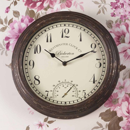 Bickerton Wall Clock & Thermometer 30cm with background