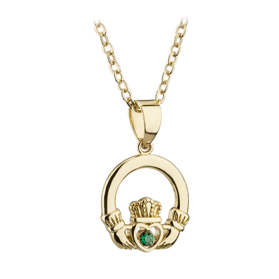 GOLD PLATED  CRYSTAL CLADDAGH PENDANT