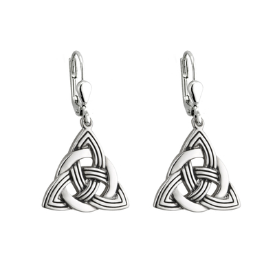 RHODIUM ANTIGUED TRINITY KNOT DROP EARRINGS