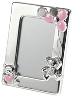 Silver Plated Teddy Bear Picture Frame (Pink)