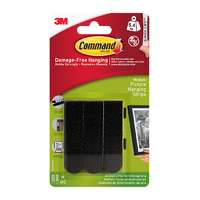 Command Medium Picture Strips Black 4pk - 17201BLK