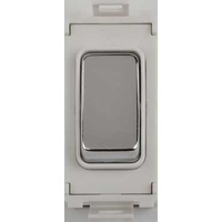 Schneider Ultimate Grid retractive switch mirror steel with White surround|LV0701.1056