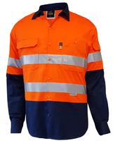 Techni Vision Hi Vis Day/Night Long Sleeve Vented Lightweight Cotton Shirt 160gsm