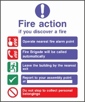 Fire Action Sign FACT0011-0448