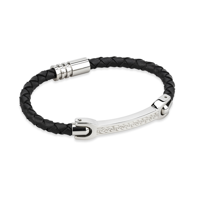 GENTS STEEL BLACK LEATHER BRACELET