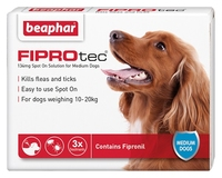 Beaphar FIPROtec Medium Dog Flea Drops - 3 Tube x 1