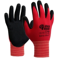 E410 Red Ram Sandy Latex Palm Coat Glove Red/Black Pkt 12