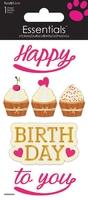 >< Happy Birthday Cupcakes Essential Craft Sticker.