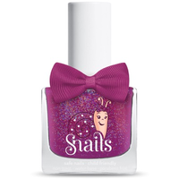 Pinky purple kids-safe nail polish that washes off with soap and water.