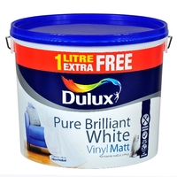 Dulux Vinyl Matt White 10 Litre + 1 Litre Free