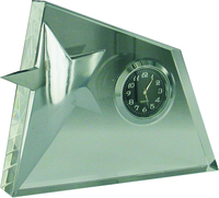12.5cm Crystal Clock & Star (Satin Box)