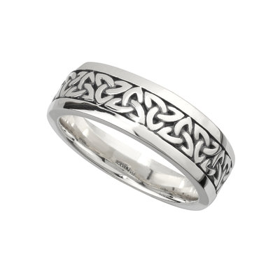 SILVER OXIDISED GENTS TRINITY KNOT RING
