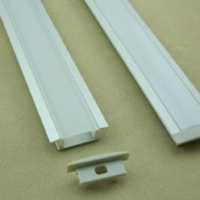 RECESSED ALUMINIUM CHANNEL 23.7X8.2MM 2 METRE CW END CAPS & MOUNTING BRACKETS OPAL DIFFUSER