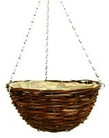 """Black Rattan Hanging Basket Round 16"""""""