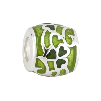 TWO TONE GREEN ENAMEL SHAMROCK BEAD