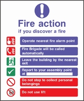 Fire Action Sign FACT0001-0438