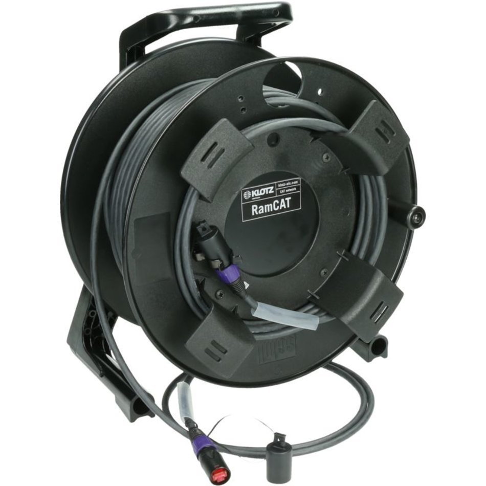 Klotz RCBEEW flexible, double shielded RamCAT network cable drum system with AWG24 solid conductor and etherCON connectors