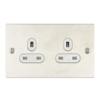 Socket Ultimate 2 Gang unswitched Stainless Steel