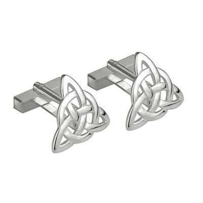 STERLING SILVER TRINITY KNOT CUFFLINKS LARGE (BOXED)