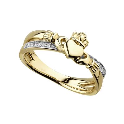 14K DIAMOND CLADDAGH CROSSOVER RING