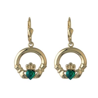 RHODIUM GREEN CRYSTAL CLADDAGH DROP EARRINGS