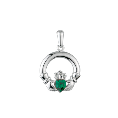 SILVER PLATED GREEN CRYSTAL CLADDAGH PENDANT