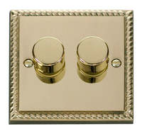 Click Deco Georgian Cast Brass 2 Gang 2 Way Dimmer | LV0101.0059