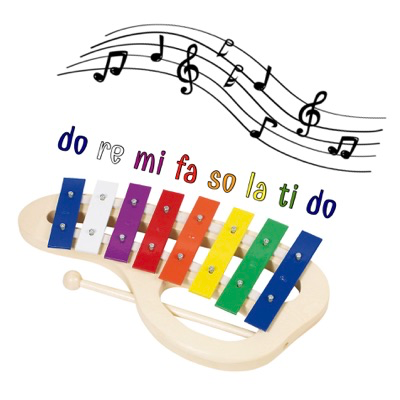 Kids xylophone with handle - do re mi