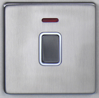 DETA Screwless 20Amp Double Pole switch with neon Satin Chrome White Insert    LV0201.0075