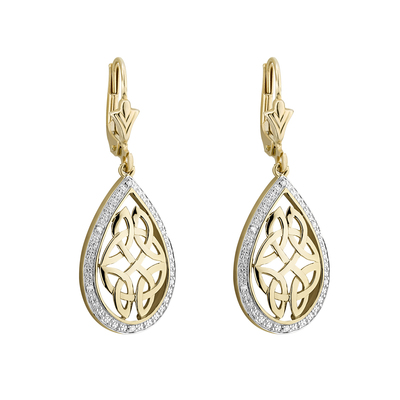 9K DIAMOND OVAL CELTIC DROP EARRINGS