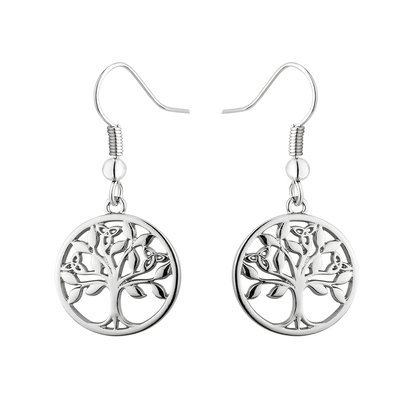 RHODIUM REE OF LIFE DROP EARRINGS
