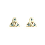 14K gold emerald trinity knot stud earrings s3006 from Solvar