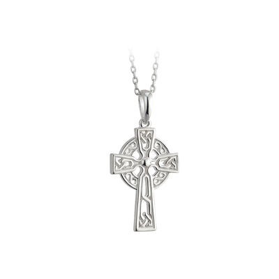 RHODIUM PLATED CELTIC CROSS PENDANT (BOXED)