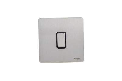 Schneider Ultimate Screwless 1g 2way Switch Stainless Steel Black|LV0701.0893