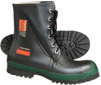 Skellerup Ashley Safety Mid-Calf Height Laced Up Rubber Safety Gumboot Black