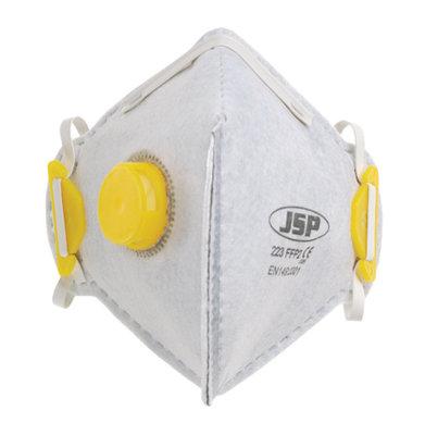 BEB120-101-000 JSP Fold Flat Disposable Vertical Mask FFP2 Valved White (Pack of 10)