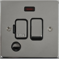 Schneider Ultimate Low Profile Fused Spur with Neon & Flex outlet Polished Chrome with Black Insert | LV0701.0241