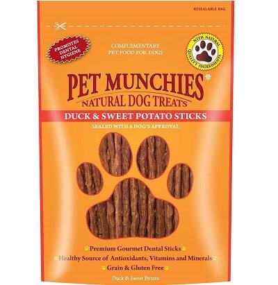 Pet Munchies Dog Treats Duck & Sweet Potato Dental Sticks 8 x 90g