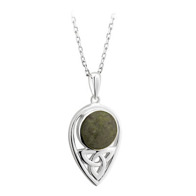 sterling silver connemara marble trinity knot pendant necklace s46625 from Solvar