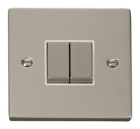 Click Deco Victorian Pearl Nickel with White Insert 2 Gang 2 Way 'Ingot' Switch | LV0101.0125