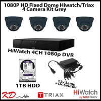 4 Camera CCTV 1080p Fixed Dome Kit - Grey