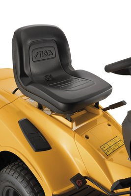 The mower has an adjustable seat for ultimate driving comfort.