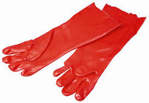 "Red PVC Gauntlet 14""/ 35cm Safety Work Glove Extra Large"
