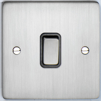 DETA Flat Plate 1gang switch Satin Chrome with Black Insert | LV0201.0160