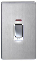 DETA Screwless Tall Cooker switch with neon Satin Chrome White Insert | LV0201.0076