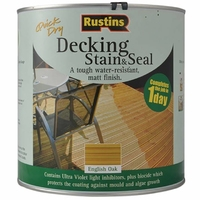 RUSTINS QUICK DRYING DECKING STAIN AND SEAL ENGLISH OAK 2.5LTR
